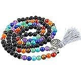 6 mm Black Lava Rock 7 Chakra 108 Mala Beads Piedras de oración Pulsera Collar