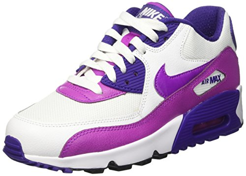 Nike Nike Mädchen Air Max 90 Mesh (Gs) Gymnastik, Bianco (White/Hypr Violet-Crt Prpl-Blk), 36.5 EU