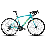 Hiland Road Bike 700c Racing Bike Aluminum Alloy City Commuter Bicycle with 21 Speeds Cyan 53CM