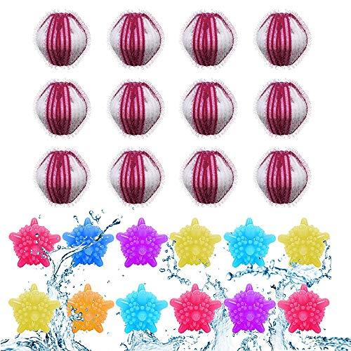 Waschbälle,Waschmaschine Ball,Wäschekugel flusenfreie,Reinigungs Ball,Haustier Haarentferner,Tierhaarentferner Waschmaschine,Fusselbälle Waschkugel,Tierhaarentferner Haarentfernung 24PCS(Rot-Weiss)