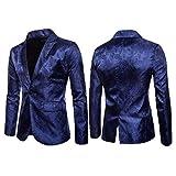 Loeay Moda para Hombre con Estilo Informal Casual Slim Fit Formal Traje de un botón Blazer Abrigo Chaqueta Tops Azul Marino XXXL
