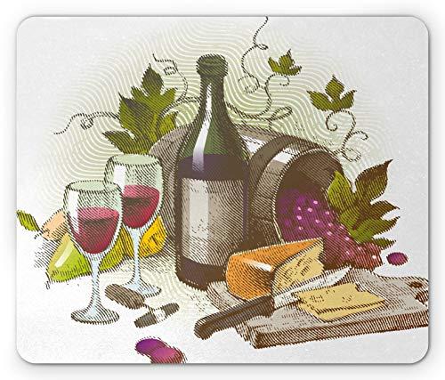 Wein Mauspad, Vintage-Stil Zusammensetzung mit Wein und Käse Früchte Gourmet-Geschmack Getränke und Lebensmittel, Standardgröße Rechteck rutschfeste Gummi Mousepad, mehrfarbig
