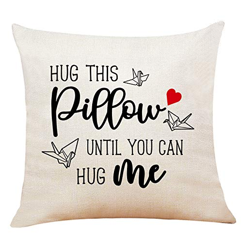 XUWELL Hug This Pillow Until You Can Hug Me Cotton Linen Throw Pillow Cover, Long Distance Relationship Gifts, 18 x 18 Inch Cushion Case for Sofa Bed Home Decor