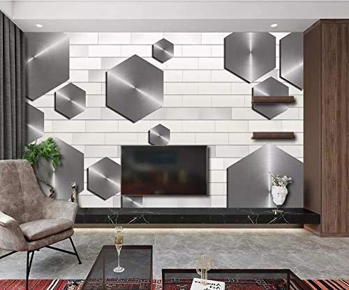 DZBHSCL 4D behang wandschilderingen, modern minimalistisch grijs hexagon wit brick wall kunstdruk grootte fotobehang poster voor woonkamer bank tv achtergrond veranda slaapkamer muur decor 80in×120in 200cm(H)×300cm(W)