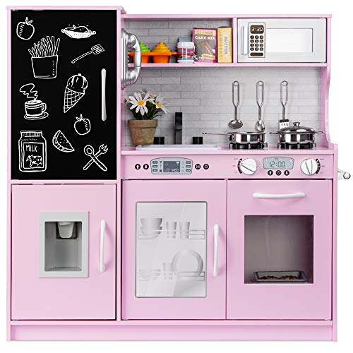 Best Choice Products Pretend Play Kitchen Wooden Toy Set for Kids with Realistic Design, Telephone, Utensils, Oven, Microwave, Sink - Pink
