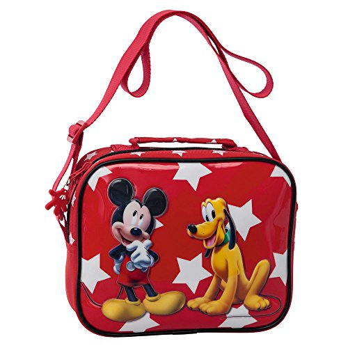 Disney Mickey y Pluto Neceser Bandolera Adaptable, Color Rojo, 2.62 litros