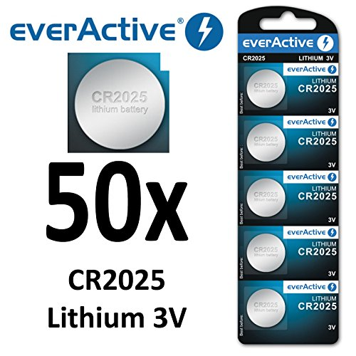 50 X EverActive CR2025 Litio 3 Volt. Cr 2025 Blister Nuovo Ø 20 mm, altezza 2,5 mm