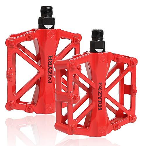 CETECK Fahrrad Pedalen Mountainbike Rennrad Fahrradpedale, Metall Pedale MTB Pedale mit Aluminiumlegierung Platform rutschfest Trekking Pedale mit Achsendurchmesser 9/16 Zoll (Rot)