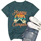 MYHALF Happy Camper Shirt for Women Funny Cute Graphic Tee Short Sleeve Letter Print Casual Tee Shirts Green