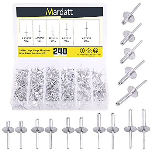 Mardatt 240 Pcs 5 Sizes All Aluminum Large Flange Blind Rivets Set, Round Dome Open Head Blinds Pop Rivets Assortment Kit with Storage Case for Joining Metal Plate Pipe Automotive