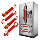 Christmas Refrigerator Door Handle Covers Set of 4,Santa Kitchen Appliance Covers for Fridge Microwave Oven Dishwasher Door Handle Protector Christmas Decorations