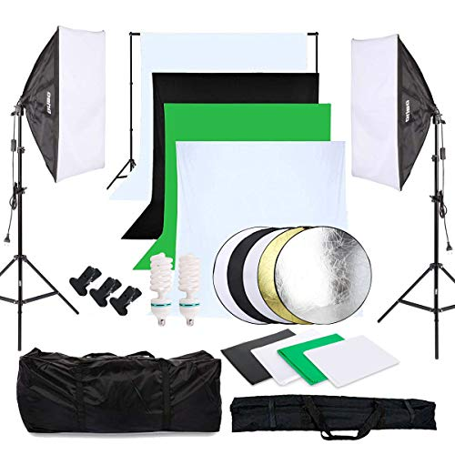 Oubo Juego de accesorios profesionales para estudio fotográfico, 4 fondos de tela (negro, 2 blancos y 2 verdes), softbox, luces, reflector 5 en 1, trípode de 60 cm y funda protectora