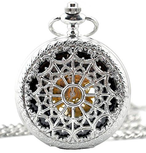 Infinite U Retro Redes de Corazones Colgante Collar Reloj de Bolsillo Mecánico -Color Plateado