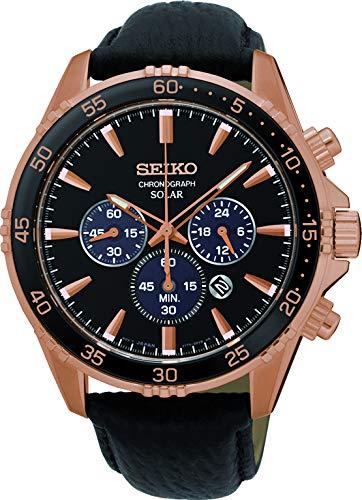 Seiko Herren Chronograph Solar Uhr mit Leder Armband SSC448P1