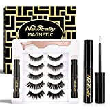 Magnetic Eyeliner and Lashes Set, Magnetic False Lashes Dramatic 5 Pairs with Magnetic Eyeliner, No Glue Long Lasting and Resuable
