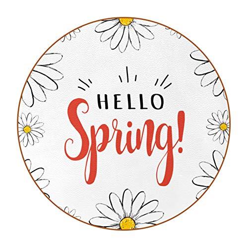 Posavasos para bebidas, 6 piezas, posavasos para bebidas, regalo de inauguración de la casa para amigos, 4.3 pulgadas, Hello Spring Daisy Flower