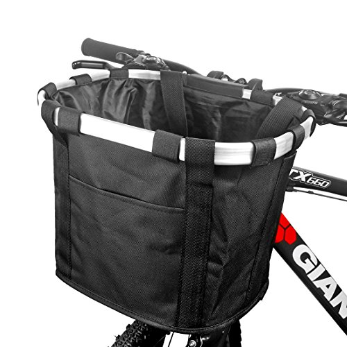 funsport Bicycle Basket Bike Front Basket Folding Detachable Cycling Bag- Perfect Removable Dog Basket for Bike- Pet Cat Dog Carrier Easy Install Quick Released
