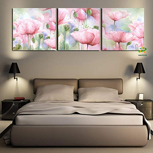 European Pastoral Garden Red Poppy Canvas Painting Print on Canvas Wall Art Picture Living Room Home Decoration 30x40cmx3 (no frame)