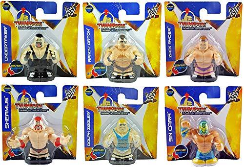 WWE Thumbpers Series 1 Mini figura de lucha libre juego de 6 – Randy Orton, Sheamus, Undertaker, Sin Cara