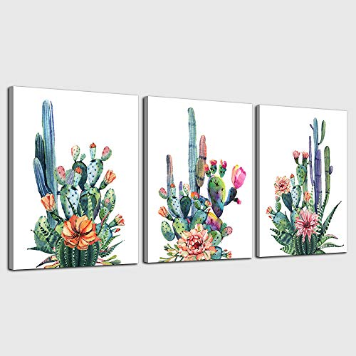 Wall Art for living room Canvas Prints Artwork bathroom Wall Decor Simple Life Green plants cactus Picture Watercolor painting 3 Pieces kitchen bedroom wall decorations Office Works Home Decoration