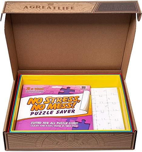 4-in-1: Puzzle Sortierer zur praktischen Aufbewahrung für Puzzleteile inkl. 12 Puzzle Kleber Folien - Schalen zur einfachen Organisation & Transport - Mit Blanko Puzzle und Hake zum Aufhängen
