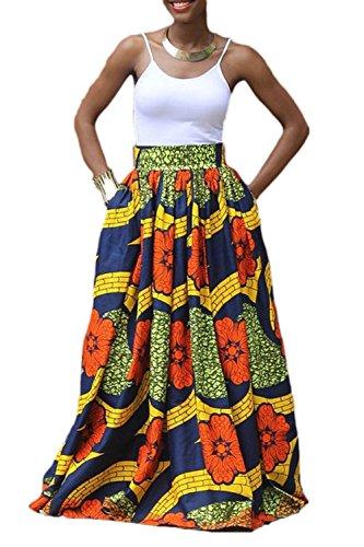 Zonsaoja Mujer Faldas Largas Elegantes Africa Flores Impresa Fiesta Tallas Grandes