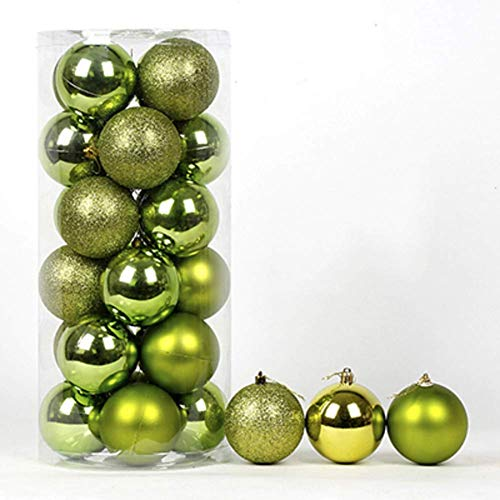 LIUSHI 24ct Christmas Ball Ornaments Shatterproof Christmas Decorations Tree Balls Small for Holiday Wedding Party Decoration-Green 8cm(3inch)