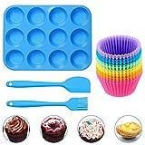 Geeke Set 12 Muffins y moldes para Pasteles de Silicona Reutilizables, con 12 Muffins, 1 espátula de Silicona y 1 Cepillo de Aceite, sartén Antiadherente, Apto para lavavajillas, Horno y microondas
