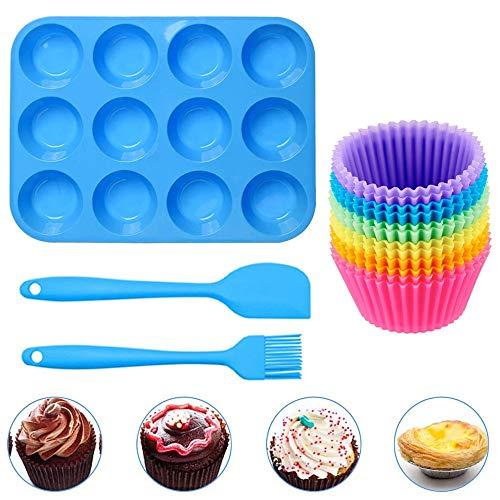 Geeke Set di 12 teglie riutilizzabili in Silicone per Muffin e Cupcake, con 12 Muffin, 1 spatola in Silicone e 1 Pennello per Olio, Padella Antiaderente,Adatto per lavastoviglie, Forno e microonde