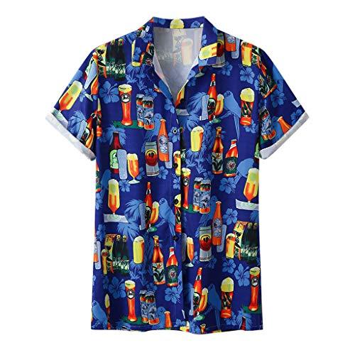 Herren Sommer Knopf T-Shirts Kurzarm V Ausschnitt Sport Tees Oktoberfest Bedruckt Polyester Baumwolle Trikot Workwear Gym Laufbekleidung Bodybuilding Polohemd Top (EU:44, Blau)
