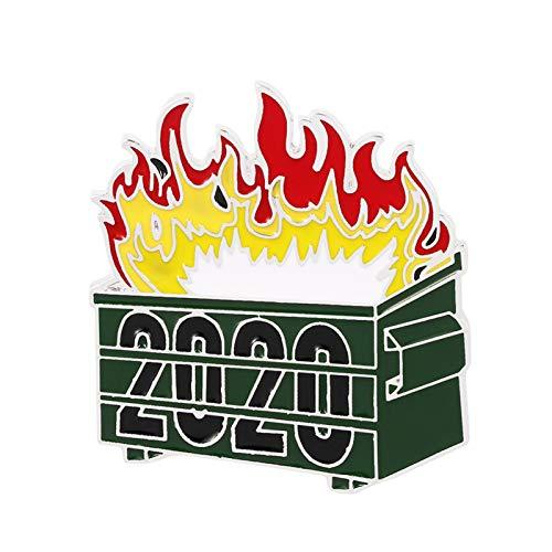 Ruby569y Broche de esmalte creativo para chaquetas, mochilas, ropa, papelera en llamas 2020, broche de letra, broche de jeans, insignia unisex para ropa, joyera para camisas