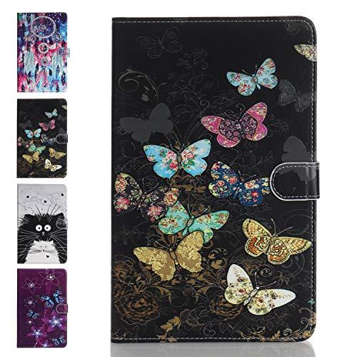 Ancase Tablet Hülle kompatibel für Samsung Galaxy Tab A 8.0 Zoll (2019) T290 T295 Hülle Case Leder Tasche Muster Schutzhülle Flip Cover mit Kartenfach - Farbiger Schmetterling
