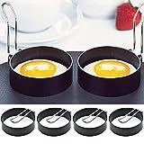 Porcyco - Hueveras antiadherentes, 4 anillos de acero inoxidable, para freír panqueques de silicona con asa, para huevos fritos y escalfados