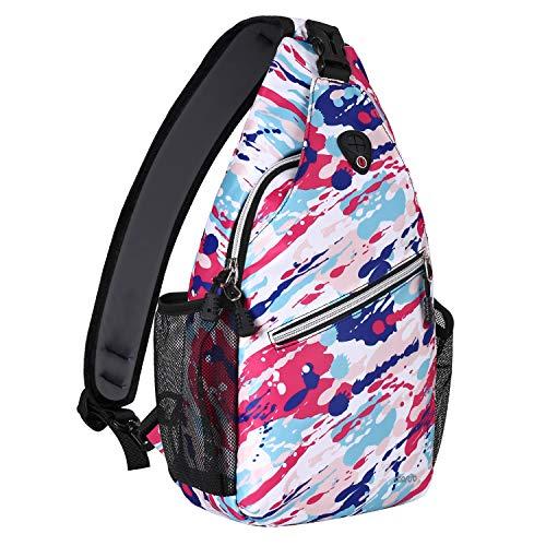 MOSISO Sling Backpack,Travel Hiking Daypack Pattern Rope Crossbody Shoulder Bag, Red Abstract Graffiti