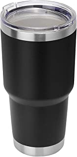Stainless Steel Tumbler Cup 30oz Double Wall Insulated Travel Coffee Mug with Lid, Straw and Brush (Black)