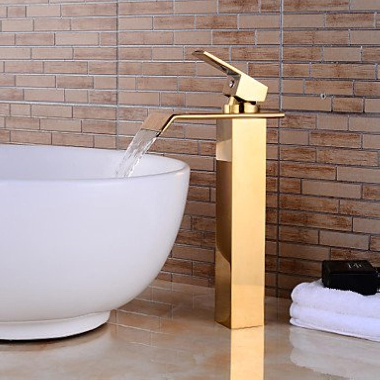 GFFXIXI Contemporary Centerset Waterfall Ceramic Valve Single Handle One Hole Ti-PVD, Bathroom Sink Faucet