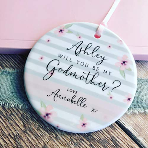 Personalised Personalised Will You Be My Godmother Godfather Godparents Decoration Pink Flowers Round Ornament -Keepsake Decoration Custom Name Year 3' Ceramic Ornament Christmas