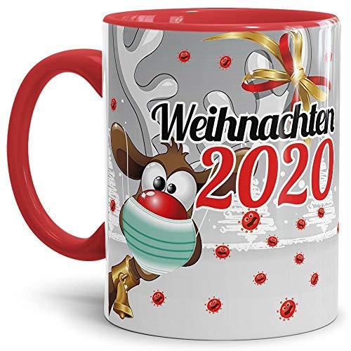 Geschenk Tasse - Rentier - Weihnachtgeschenk 2020 / Witzige Geschenkidee für Freunde/Weihnachten mit Virus - Innen & Henkel Rot