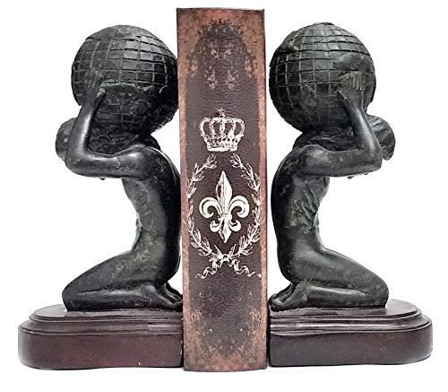 Bellaa 22968 Atlas Globe Bookends Greek Statues European Art 7 inch