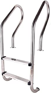 QDY-Handrails Pool Ladder Stainless Steel, 2-Step Inground Swimming Pool Stairs w/Non-Slip Footstep, Easy Installation Poo...