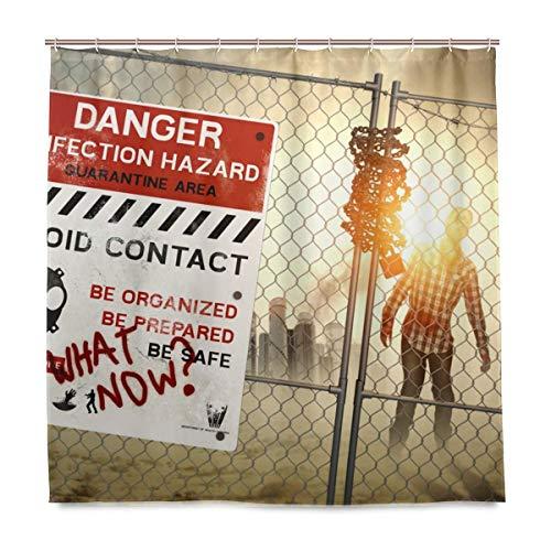 Gefahr Zombie Zone Duschvorhang Wasserdichtes Polyestergewebe Bad Curtian Badezimmer Dekor mit 12 Haken Zoll