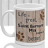 N\A Regalo novedoso Taza de café Blanco de 11 oz Taza de Mezcla de San Bernardo Regalo de Mezcla de San Bernardo Taza de Raza de Perro Regalo para el Amante de los Perros Oficina en casa Taza de té