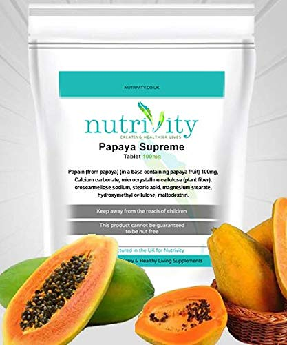 Papaya Supreme 100mg Tablets Papain Supplement Protein Digestion by Nutrivity (30)