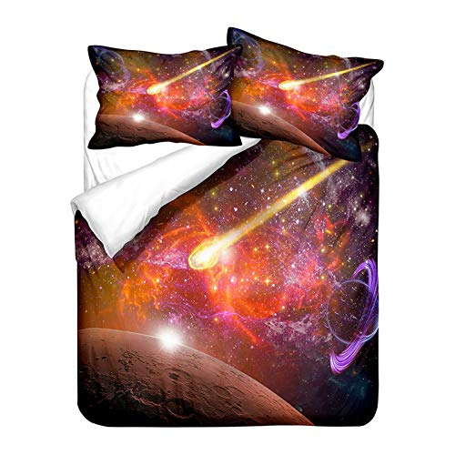 Sticker Superb. Mystery Universe cosmos Outer Space Galaxy Star Duvet Cover with Zipper, Blue Purple White Planet Meteor Bedding Set Girl Boy Man Microfiber Polyester (Galaxy 3,Double 200 x 200cm)