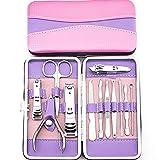 LONGLING Set de cortaúñas Set de manicura para Mujer, pedicura de Acero Inoxidable, cortaúñas, Herramientas de Viaje 12 en 1