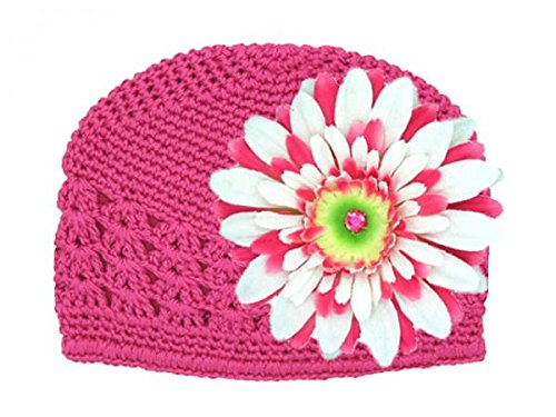 Jamie Rae Hats – Raspberry Crochet Hat with White & Raspberry Daisy, Size: 12-18M