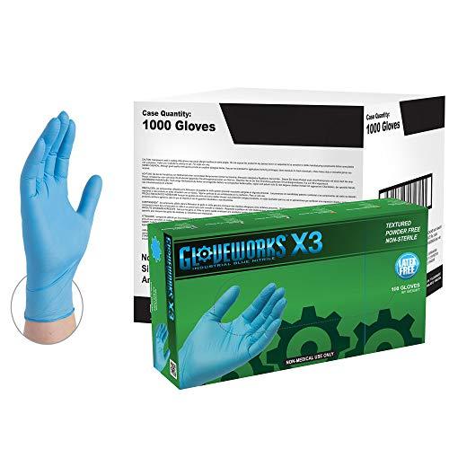 AMMEX X3 Industrielle Blaue Nitrilhandschuhe, 1000 Stück Box, 3 mil, Größe Mittelgroß, Latexfrei, Pulverfrei, Strukturiert, Einweg, Nicht Steril, X3LB44102E0