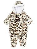 Pistachio Infant Girl Plush Faux Fur Leopard Snowsuit Footed Pram Snow Suit 6-9m
