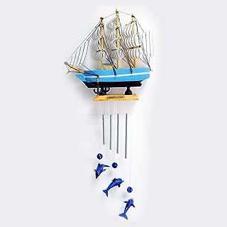 ZONEMEL Sailboat Wind Chime, Sea Blue Dolphin Handmade Garden Chimes