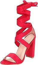 Cambridge Select Women's Open Toe Crisscross Strappy Ankle Wrap Tie Chunky Block Heel Sandal